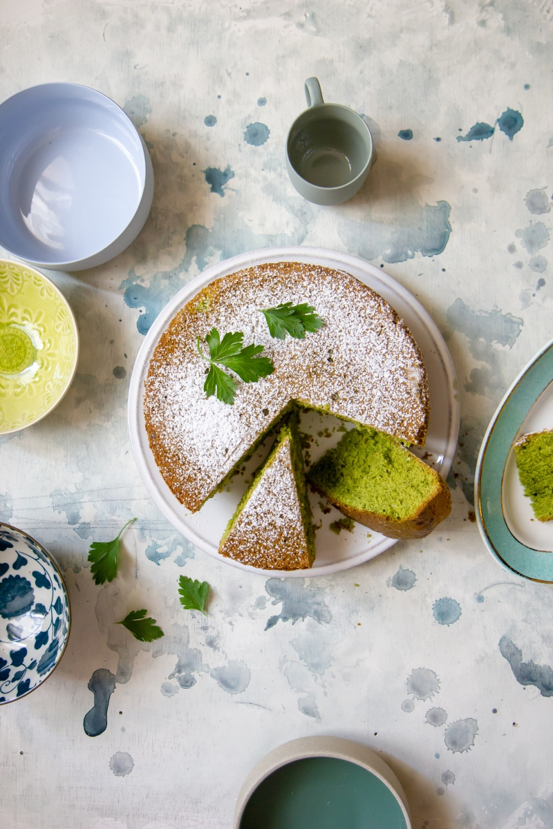 Parsley and mint cake